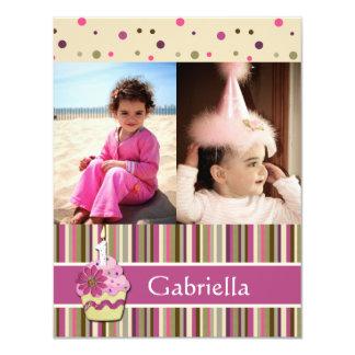 "Playful Pink Cupcake Flat Photo Thank You Card 4.25"" X 5.5"" Invitation Card"