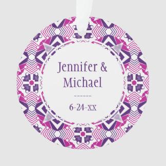 Playful pink purple and white kaleidoscope design ornament