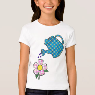 Playful Plaid Flower and Watering Can T-Shirt