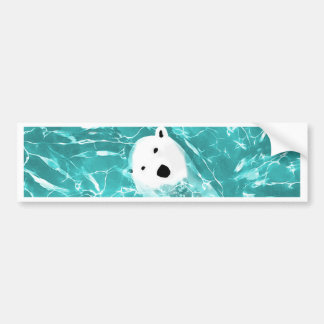 Playful Polar Bear In Turquoise Water Design Bumper Sticker