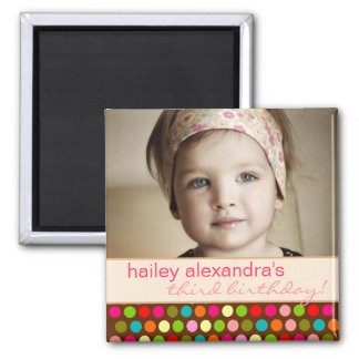 Playful Polka Dots Birthday Photo Magnet