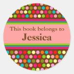 Playful Polka Dots Book Label Classic Round Sticker