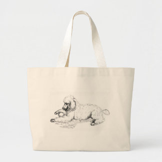 Playful Poodle Large Tote Bag