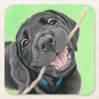 Playful Pup Black Lab Coaster