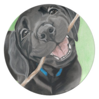 Playful Pup Black Lab Puppy Melamine Plate