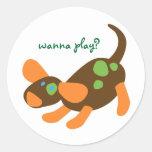 Playful Pup Classic Round Sticker