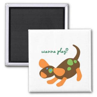 Playful Pup Magnet