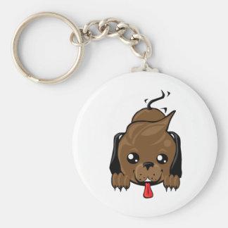 Playful puppy dog basic round button keychain
