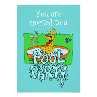 Playful Puppy Pool Party Invitation