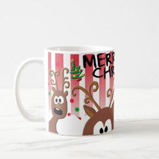 Playful Reindeer Merry Christmas Mug