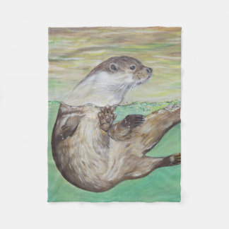 Playful River Otter Fleece Blanket