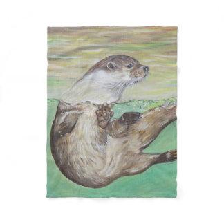 Playful River Otter Fleece Blanket