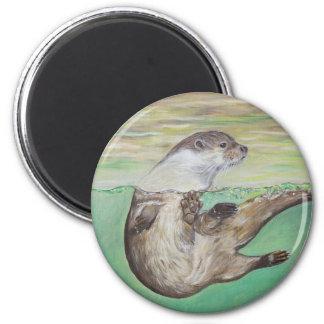 Playful River Otter Magnet