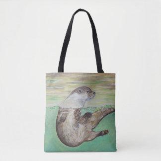 Playful River Otter Tote Bag