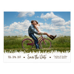 Playful Rustic Foliage Border Photo Save the Date