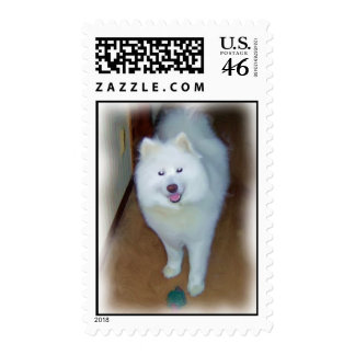 Playful Samoyed Stamps Digital oil painting effect