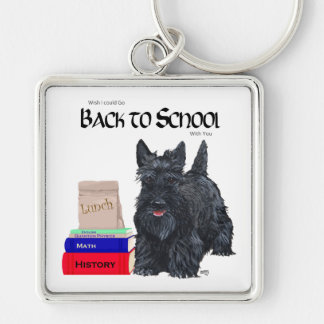 Playful Scottie Back to School Silver-Colored Square Keychain