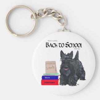Playful Scottie Back to School Basic Round Button Keychain