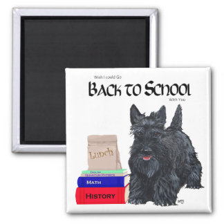 Playful Scottie Back to School 2 Inch Square Magnet
