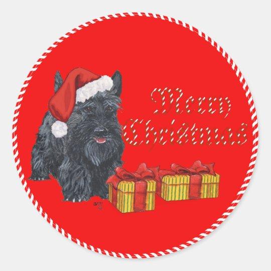 Playful Scottie Christmas Classic Round Sticker