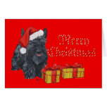 Playful Scottie Christmas Greeting Card