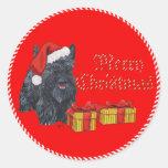 Playful Scottie Christmas Sticker