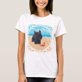 Playful Scottish Terrier at the Beach T-Shirt
