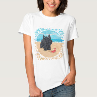 Playful Scottish Terrier at the Beach T Shirts