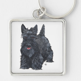 Playful Scottish Terrier Silver-Colored Square Keychain