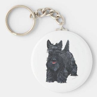 Playful Scottish Terrier Basic Round Button Keychain