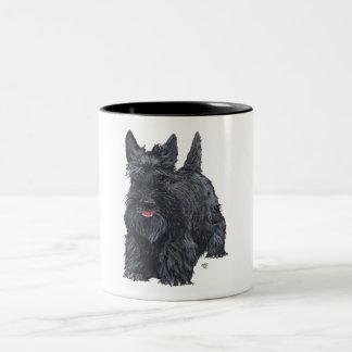 Playful Scottish Terrier Two-Tone Coffee Mug