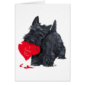 Playful Scottish Terrier Valentine Card