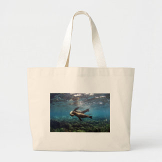Playful sea lions Galapagos Islands Tote Bags