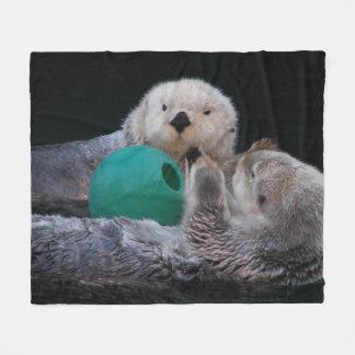 Playful Sea Otters Photo Fleece Blanket
