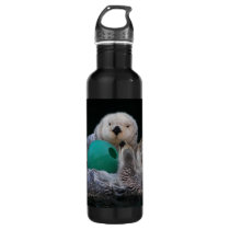 Playful Sea Otters Photo Water Bottle