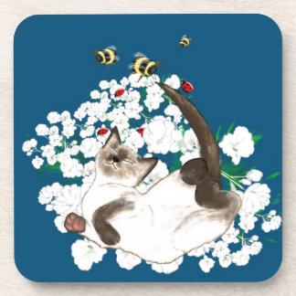 Playful Siamese Cat Beverage Coaster