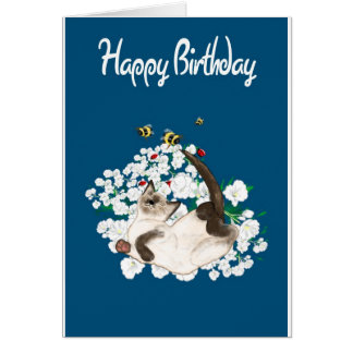 Playful Siamese Cat Card