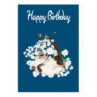 Playful Siamese Cat Postcard