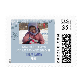 Playful Snowflakes Photo Holiday stamp
