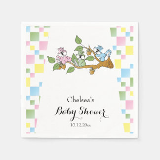 Playful Squirrel Baby Shower Theme Paper Napkin