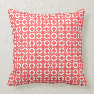 Playful  Stylish Red Geometric Hearts on White Throw Pillow