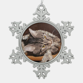 Playful tabby cat Christmas Snowflake Pewter Christmas Ornament