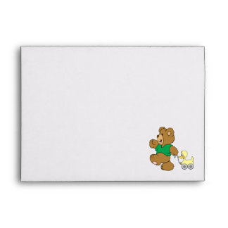 playful teddy bear with toy ducky envelope