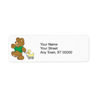 playful teddy bear with toy ducky custom return address label
