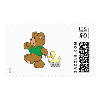 playful teddy bear with toy ducky postage