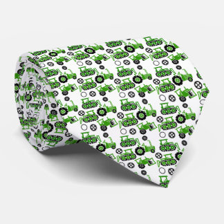 Playful Tiny Toy Green Tractors White Neck Tie