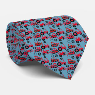 Playful Tiny Toy Red Tractors Blue Neck Tie