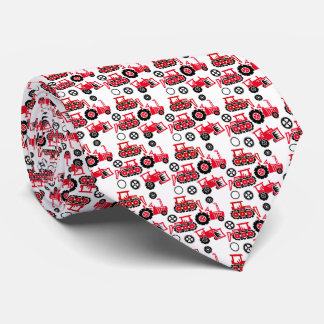 Playful Tiny Toy Red Tractors White Neck Tie