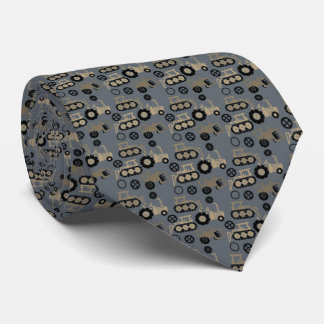 Playful Tiny Toy Tractors Gray Neck Tie