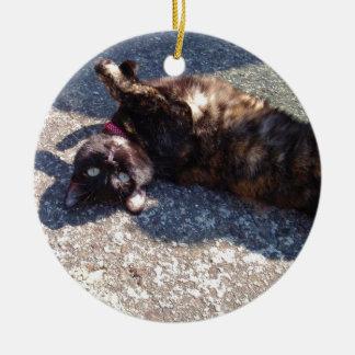 Playful Tortoiseshell Cat Ceramic Ornament